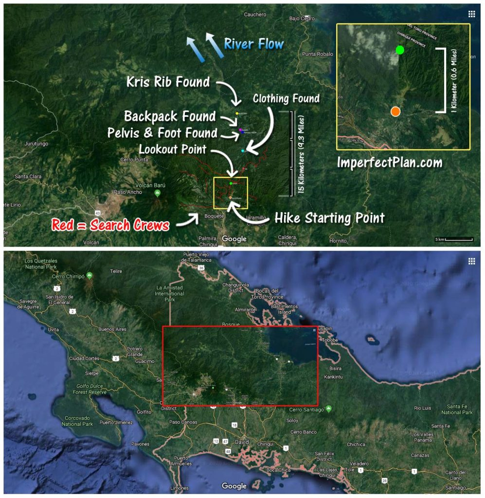 Map of Kris Kremers and Lisanne Froon Disappearance in Panama