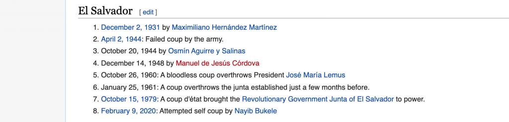 El Salvador Coups