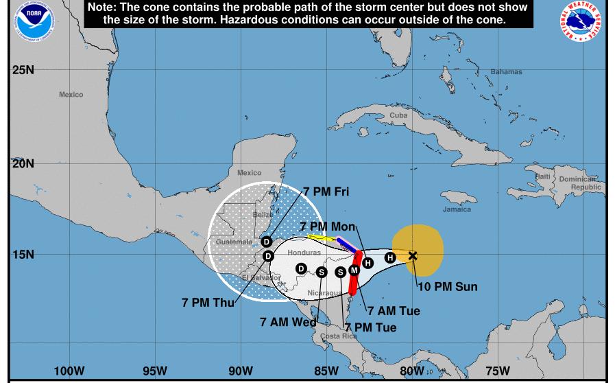 Hurricane Eta Path