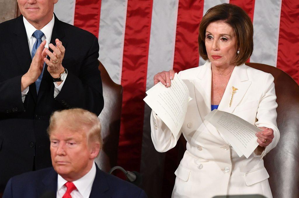 Nancy Pelosi Tearing Trump Speech
